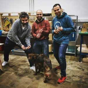 Left to right: David Cuartielles, me and Marc Sibila at SokoTech. Uma is the canine in residence.