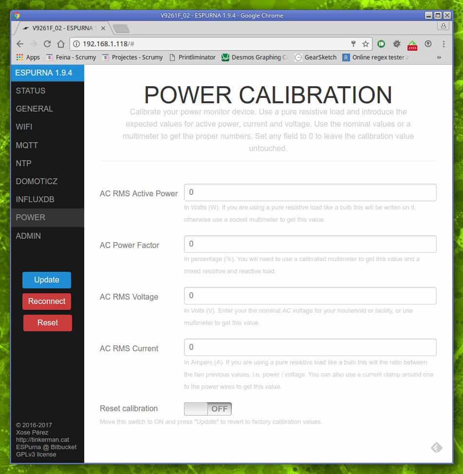 Connected Power Meter Tinkerman Ac Monitor The Calibration Tab Allows You To Introduce Expected Values For Current And Voltage
