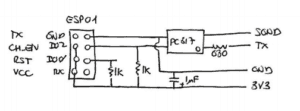 The ESP01 module is supposed to be connected with the antenna to the right, over the PC817 optocoupler